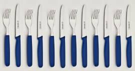 12tlg. Frühstück-/Abendbrot-Besteck Kunststoff Blau - Bild vergrößern