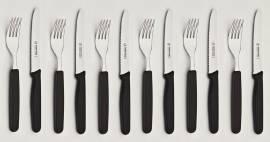 12tlg. Frühstück-/Abendbrot-Besteck Kunststoff Schwarz - Bild vergrößern