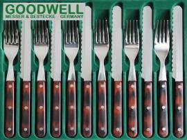 12tlg. GOODWELL Frühstück-/Abendbrot-Besteck Mahagoni - Bild vergrößern