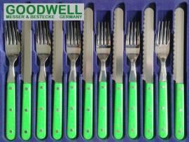 12tlg. GOODWELL Frühstück-/Abendbrot-Besteck Limettengrün - Bild vergrößern