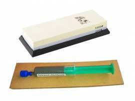 3-teiliges Schärf-Set für Messer / TAIDEA Abziehstein 240/1000 + Leder + Paste - Bild vergrößern