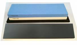 Messer-Schärf-Set, 3-teilig, 6cm breiter!!! Korund FEPA 220/400/3L mit behandeltem Abziehleder - Bild vergrößern