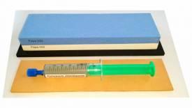 Messer-Schärf-Set, 3-teilig, 6cm breiter Korund 220/400 (240/1000JIS)+ Leder + Polierpaste - Bild vergrößern