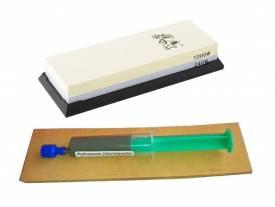 3-teiliges Schärf-Set für Messer / TAIDEA Abziehstein 240/1000 + Leder + Paste