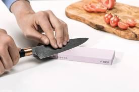 Abziehstein MissArkaUltra 1000, für Küchenmesser und RM, komplett mit 20mm Kautschuk-Unterlage - Bild vergrößern