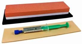 Messer-Schärf-Set, 3-teilig, 5cm breiter Korund 360/1000 (700/3000 JIS) + Leder + Polierpaste - Bild vergrößern