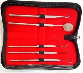 5-teiliges Dental-Set mit Zahnspiegel + Zahnsonden + Zahnsteinkratzer - Bild vergrößern
