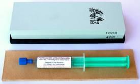 3-teiliges Schärf-Set für Messer / TAIDEA Abziehstein 400/1000 + Leder + Paste - Bild vergrößern